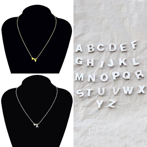 1Pc 26 English Letters Alloy Heart Link Chain Short Pendant Necklace | Edlpe