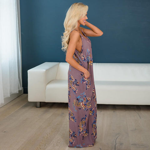 Women V Neck Boho Long Maxi Dress Summer Floral Backless Evening Party Beach Sundress | Edlpe