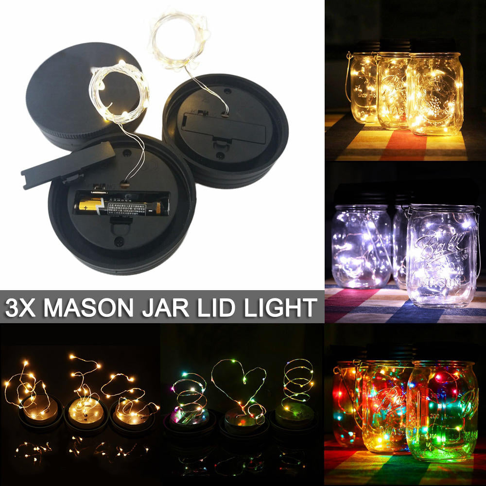 Glass Mason Jar Lid Insert Fairy House Garden Decor Led String Lights Battery | Edlpe