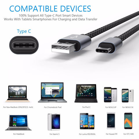 0.5M/1M/2M/3M Fast Charging Usb 3.1 Type C Braided Data Sync Charger Cable Cord | Edlpe