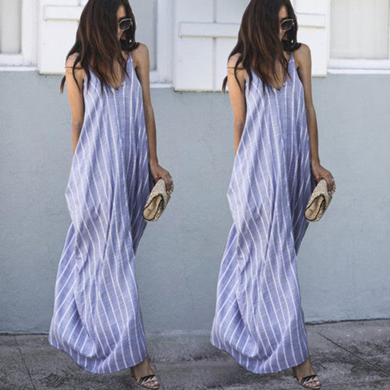 Women Sexy Backless Boho Casual Long Maxi Evening Party Cocktail Beach Sling Dress Sundress | Edlpe