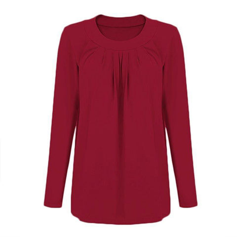Autumn Breastfeeding Pure Color Layer Long Sleeves Blouse | Edlpe