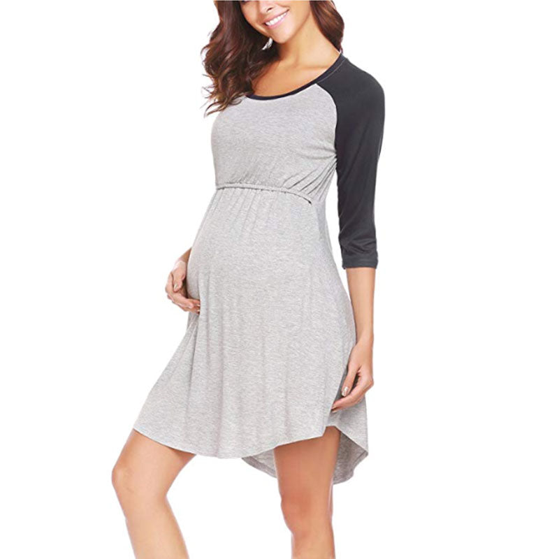 Casual Breastfeeding Raglan Half Sleeeves Maternity Loose Dress | Edlpe