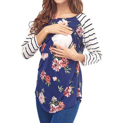 Floral Pattern Breastfeeding Stripe Stitching Long Sleeves Blouse