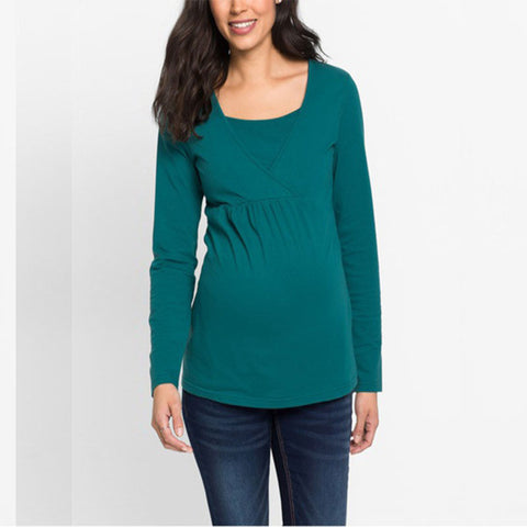 Autumn Maternity Pure Color Long Sleeves Round Neck Nursing Blouse | Edlpe
