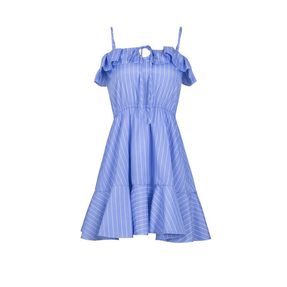 Women Holiday Sleeveless Frill Blue Striped Dress Ladies Summer Casual Mini Strappy Dresses | Edlpe