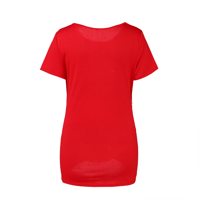Concise Style Pregnant Solid Color Short Sleeves Round Neck T-Shirt Top | Edlpe