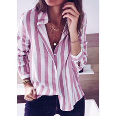 Womens Long Striped Tops Ladies Summer Loose Long Sleeve Casual Linen T Shirt Blouse