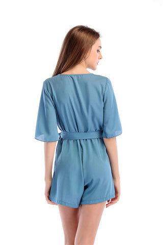 Chiffon Casual Drawstring Jumpsuit Fashion V-Neck Rompers | Edlpe