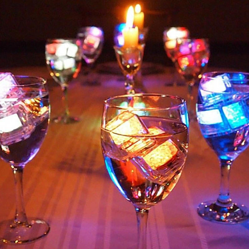 Ice Cubes Color Changing Decor Flash Lights Submersible Liquid Sensor/12 Pc Led | Edlpe