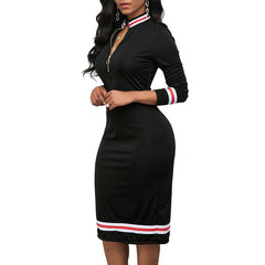 Women Autumn Fashion High Collar Deep V Neck Long Sleeve Zipper Hip Dress Bodycon Dress