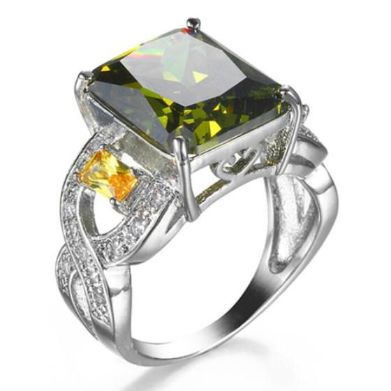 Classic Fire Square Olive Yellow Crystal Cubic Zirconia Rings Wedding Bands | Edlpe