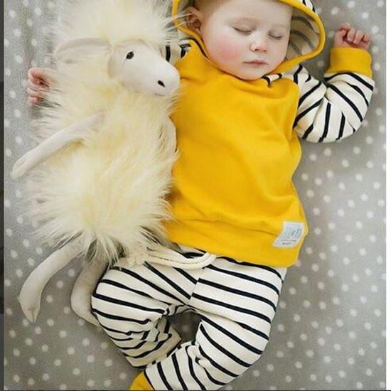 Newborn Toddler Kids Baby Boy Girl Striped Hoodie Tops+Heram Pants Outfits Clothes Set | Edlpe