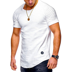 Men Casual Gauffer Shoulder Short Sleeve T Shirt O-Neck Silm Fit Solid Color Tops M-2XL