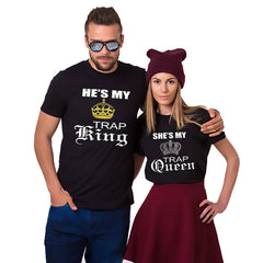King & Queen Print Women Mens Short Sleeve T Shirt Round Neck Casual Couple Blouse Tops | Edlpe