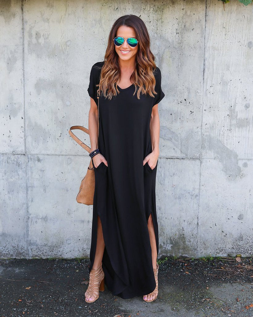 Womens Boho Short Sleeve Split Maxi Dress With Pocket Summer Evening Cocktail Party Beach Long Skirt | Edlpe