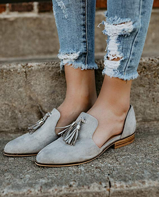 Womens Tassel Pointed Toe Loafer Low Heel Side Cut Out Sandals Casual Slip One Flat Shoe | Edlpe