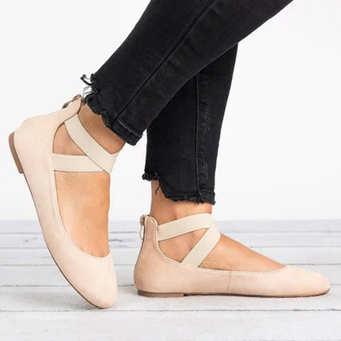 Summer Women Ankle Strap Zipper Ballerina Sandals Elastic Cross Strap Lace Up Flats Casual Shoes | Edlpe