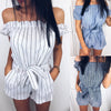 Image of Fashion Women Off Shoulder Stripe Jumpsuit Belt Waist Mini Playsuit Casual Rompers | Edlpe