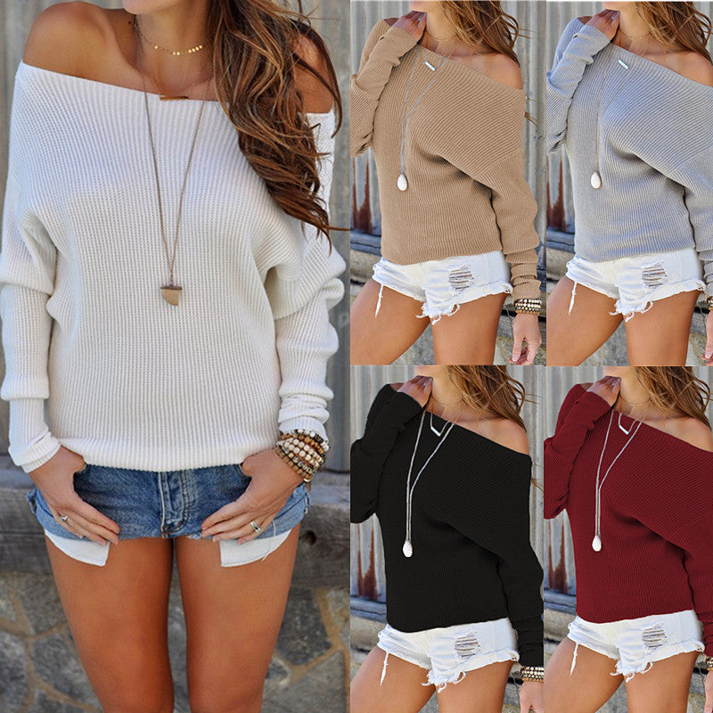 Women Long Sleeve Off Shoulder Knitting Shirt Pure Color Casual Loose Sweater Tops | Edlpe