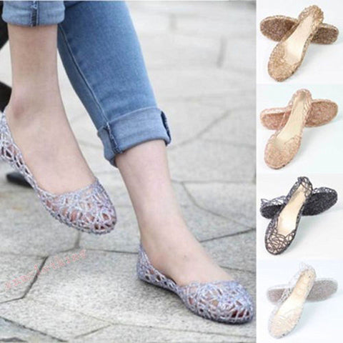 New Womens Summer Beach Sandals Ladies Hollow Casual Slip On Jelly Shoes | Edlpe
