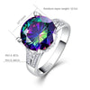 Image of Classic Fire Round Cut Multicolor Mystic Created Crystsal Wedding Jewelry Rings | Edlpe