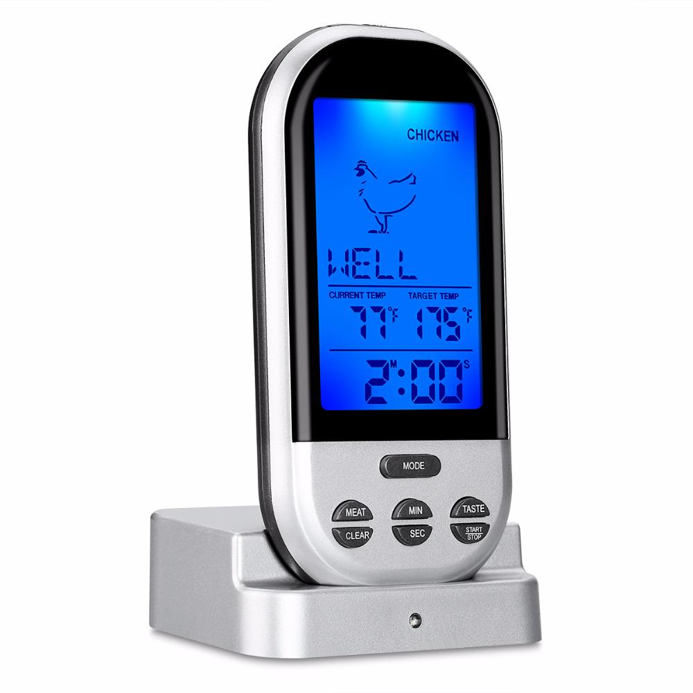 Wireless Remote Lcd Digital Thermometer Oven Bbq Grill Meat Cooking Temp Alarm | Edlpe