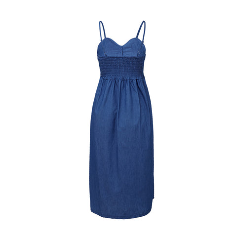 Women Holiday Strappy Button Pocket Denim Dress Summer Beach Midi Swing Dress | Edlpe