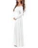 Image of Autumn Cotton Blend Maternity Long Sleeves Loose Maxi Dress | Edlpe