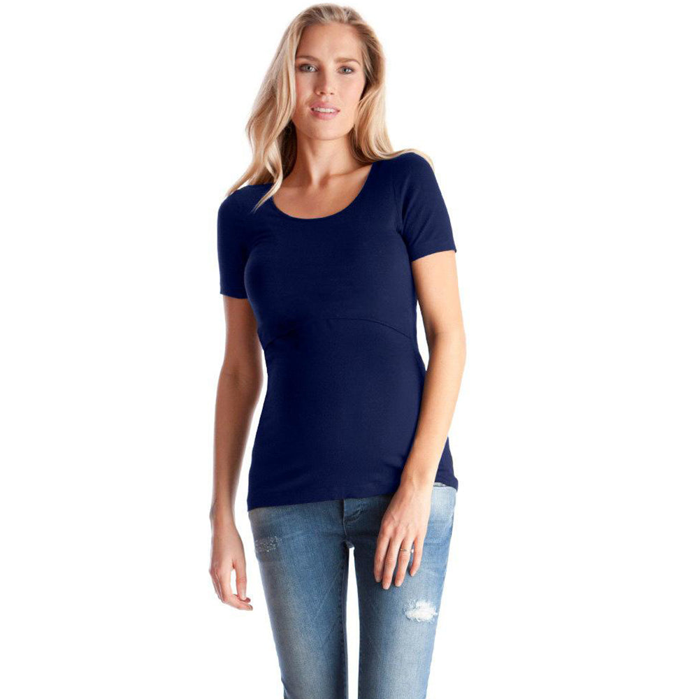 Concise Round Neck Breastfeeding Pure Color Short Sleeves T-Shirt Top | Edlpe