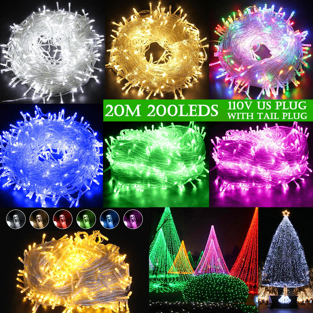 20M 200 Led Connectable With Tail Plug Fairy Led String Light Waterproof For Home Decor Us Plug | Edlpe