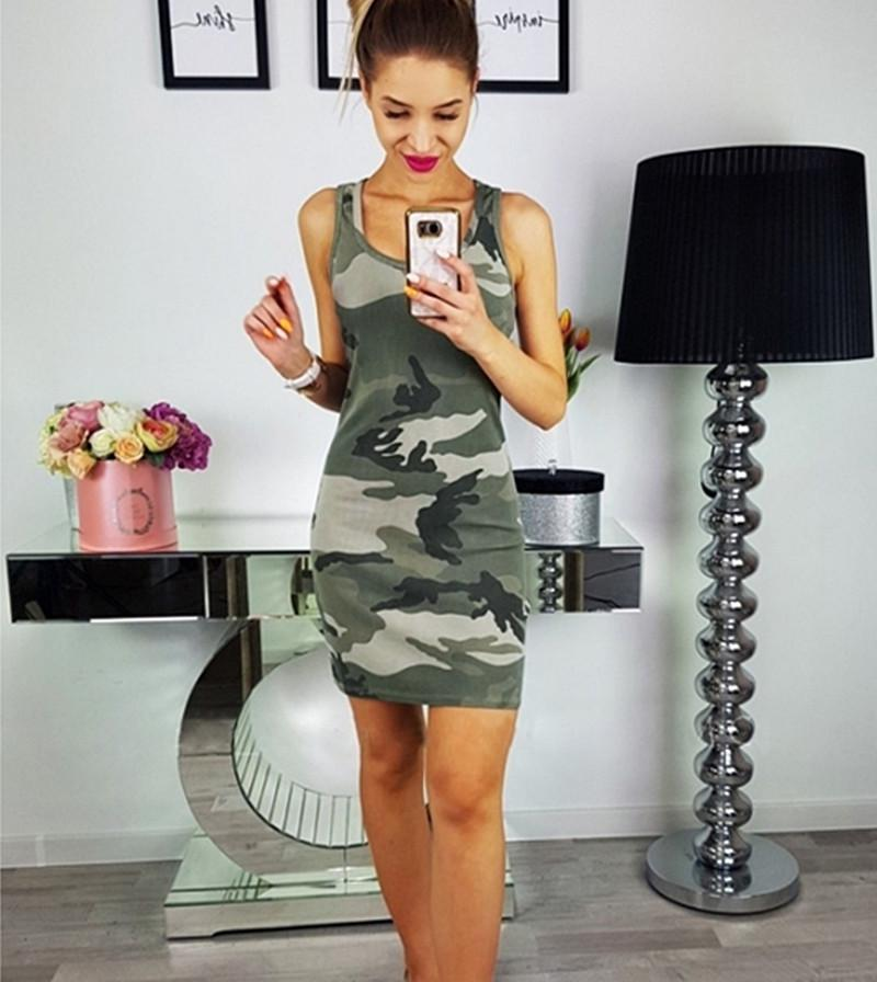 Womens Summer Sleeveless Camouflage Print T-Shirt Dress Sexy Slim Daily Long Shirt Dress | Edlpe