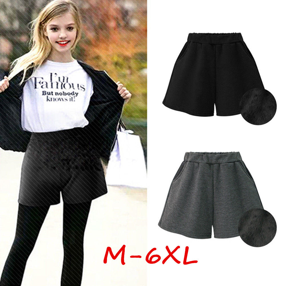 M-6Xl Women Winter Loose Short Pants High Waist Thick Trousers Plus Size Shorts | Edlpe