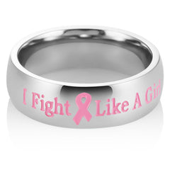 Fashion Stainless Steel Pink Ribbon Letter Rings Titanium Steel Bands For Female