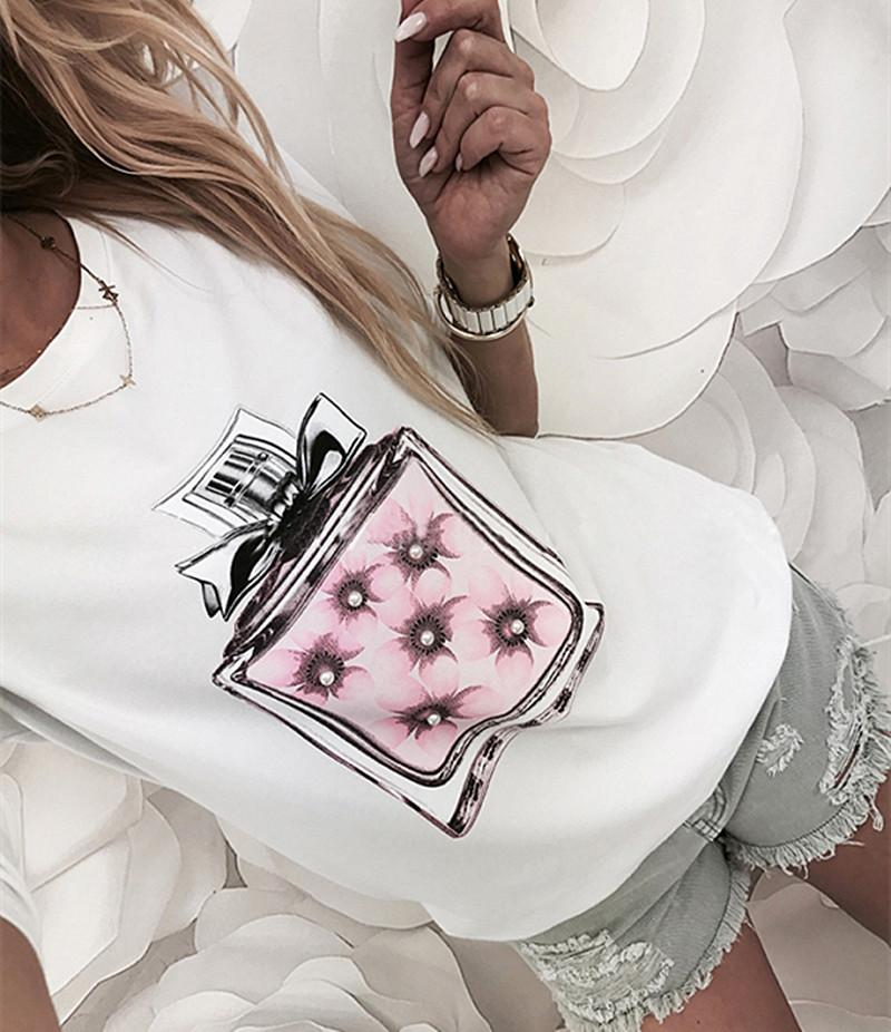 Womens 3/4 Sleeve Summer Tops Ladies Perfume Printed Casual Loose Top T Shirt Blouse | Edlpe
