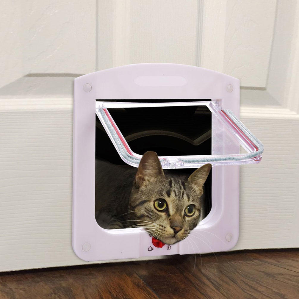 4 Way Small Medium Large Pet Cat Kitten Dog Supply Lock Lockable Safe Flap Door | Edlpe