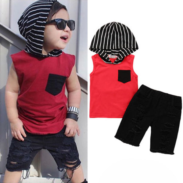 2Pcs Toddler Kids Boys Camo Sleeveless Hoodie Top Tshirt Ribbed Shorts Pants Outfits Clothes Set | Edlpe
