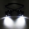 Image of Repair Magnifier Magnifying Lens 10X 15X 20X 25X Led Double Eye Glasses Loupe | Edlpe