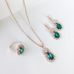 Jewelry Set Charm Crystal Water Drop Shape Necklace Earring Ring 3 Pcs Wedding Accessories