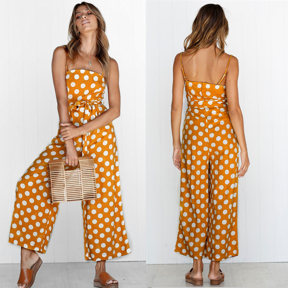 Women Strappy Dot Print Sleeveless Jumpsuit Ladies Summer Casual Wide Trouser Rompers | Edlpe