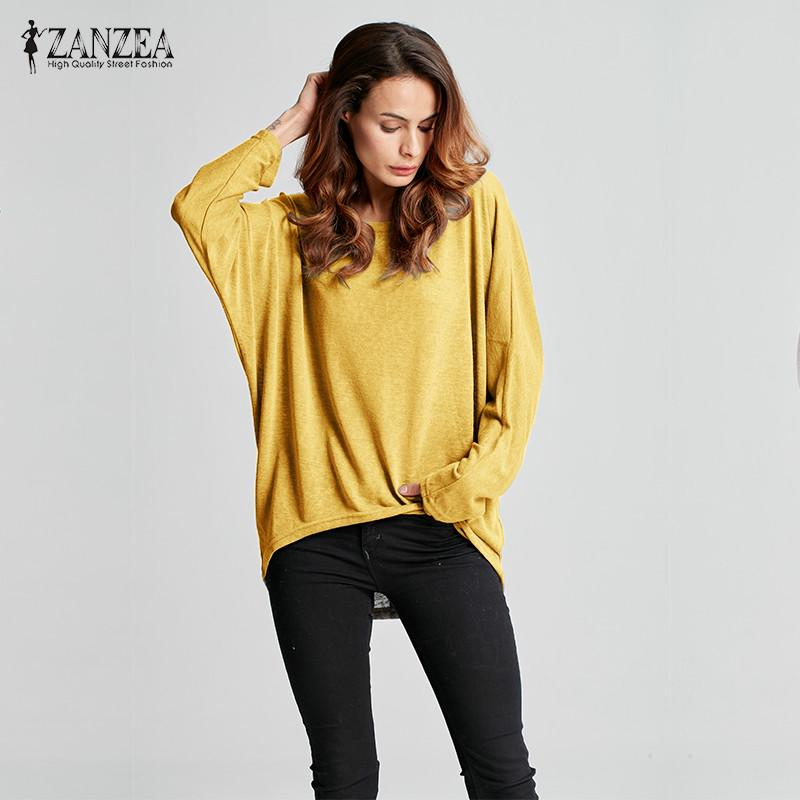 Womens Oversize Loose Long Sleeve Shirt Ladies Baggy Tops Blouse Batwing Ju | Edlpe