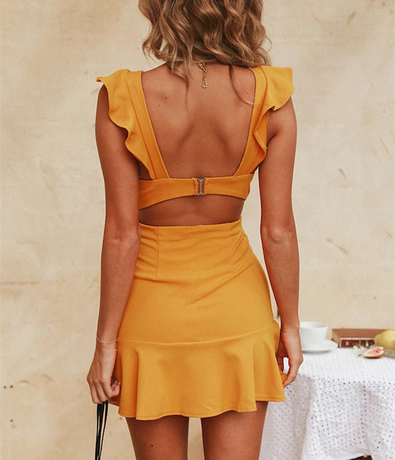 Fashion Women Sleeveless Frill Hem Mini Dress Backless Solid Hollow Bodycon Party Dress | Edlpe