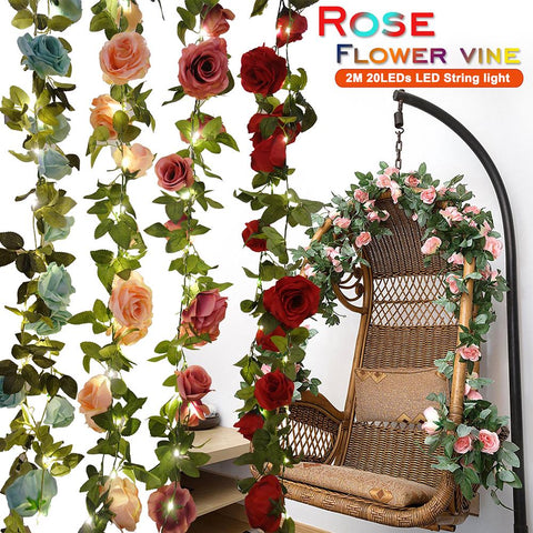 2M 20Leds Artificial Rose Flower Vine Led String Light Real Touch Silk Flowers With Green Leaves | Edlpe