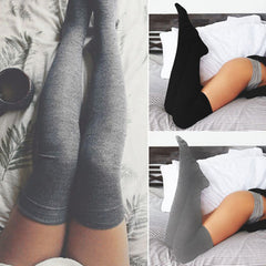 Fashion Women Sexy Cotton Over The Knee Socks Thigh High Stockings Thinner Solid Grey Black Socks | Edlpe
