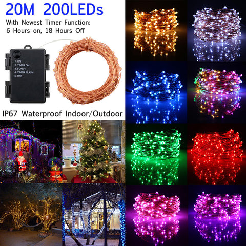 200 Led Timer Function Battery Powered Copper Wire String Light | Edlpe