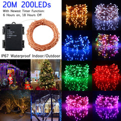 200 LED Timer Function Battery Powered Copper Wire String Light