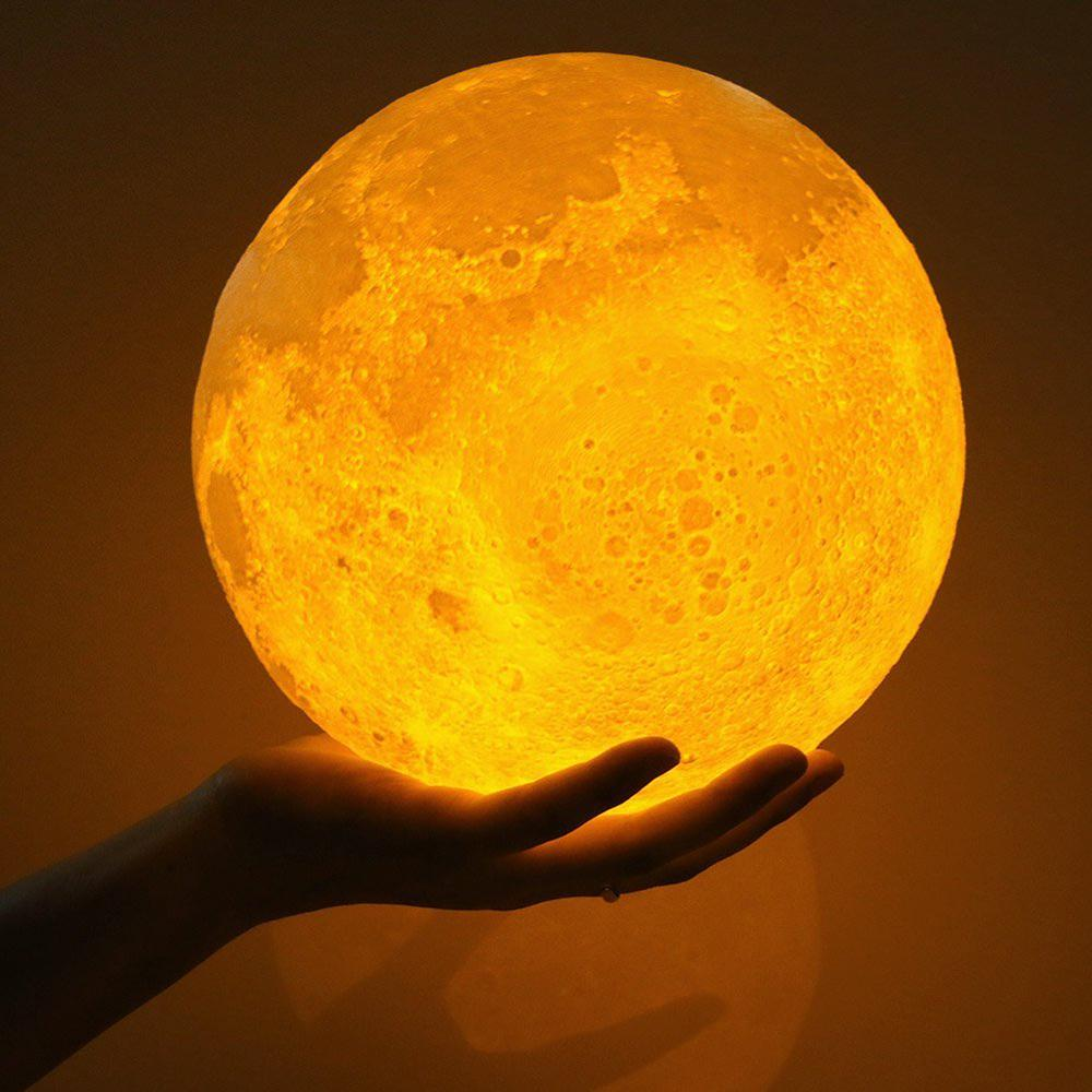 Touch Sensor Control Adjustable Brightness 3D Moon Night Light Warm And White Usb Rechargeable | Edlpe