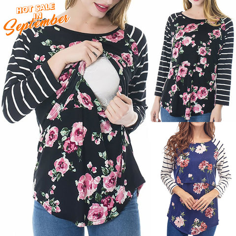 Floral Pattern Breastfeeding Stripe Stitching Long Sleeves Blouse | Edlpe