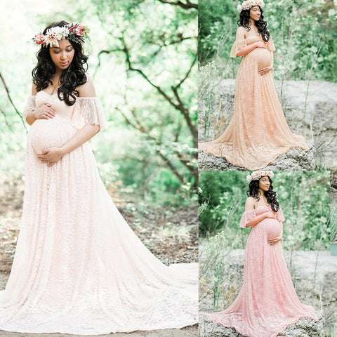 Pregnant Women Lace Maxi Dresses Maternity Gown Photography Props Photo Shoot | Edlpe