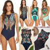 Image of Women Classic Digital Print Round Neck Backless Padded Swimsuit One Piece Bathing Suit Beachwear